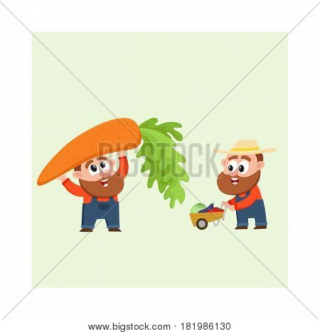 Funny farmer, gardener characters in overalls harvesting vegetables, holding giant carrot, pushing handcart, cartoon vector illustration isolated on white background. Comic farmer characters, harvest
