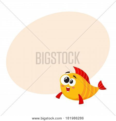 Cute, funny golden, yellow fish character with smiling happy, human face, cartoon vector illustration with space for text. Crazy yellow fish character, mascot, happy and excited