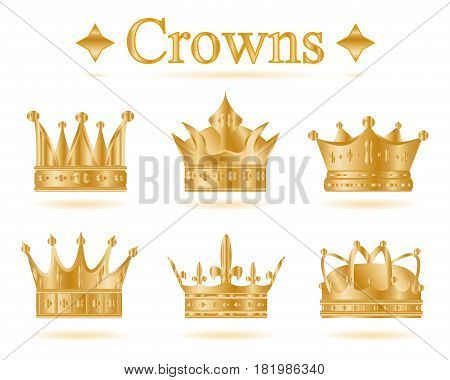 Set of gold king crown or pope tiara.Vector illustration