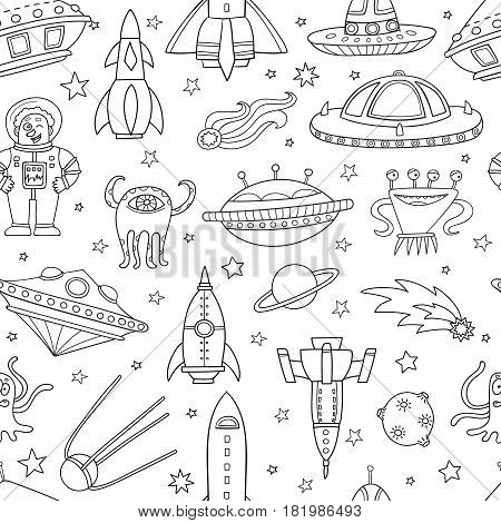 Seamless pattern with space objects: ufo, rockets, aliens. Hand-drawn elements in space theme