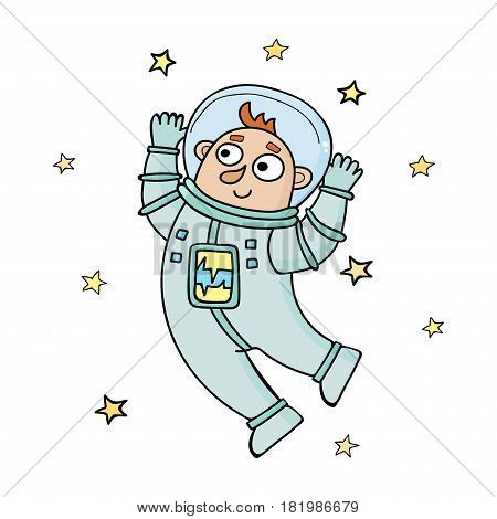 Cartoon astronaut. Vector illustration in doodle style isolated on white