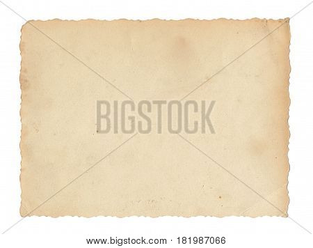 Texture old paper with traces of scuffs and stains. Postcard with a carved edge. Isolated on white.