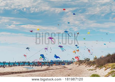 Adelaide Australia - April 15 2017: Adelaide International Kite Festival at Semaphore Beach. Event gathered together international kite flyers from Australia New Zealand and Malaysia