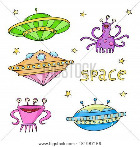 Card with space objects: ufo rockets, aliens and stars. Hand-drawn elements in space theme