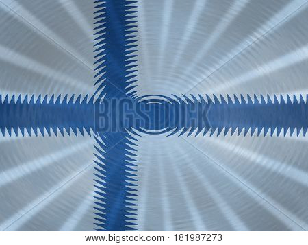 Finnish flag background with ripples and rays illustration