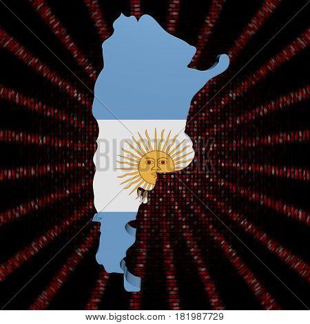 Argentina map flag on red hex code burst 3d illustration