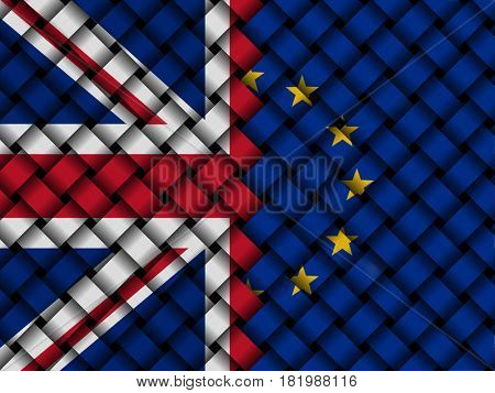 British and EU interwoven flags 3d illustration
