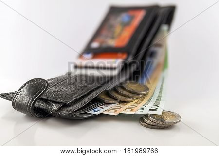 Leather Men's Open Wallet With Euro Banknotes Bills, Coins And C