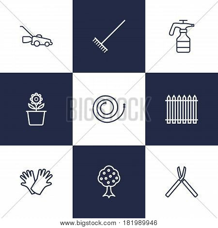 Set Of 9 Farm Outline Icons Set.Collection Of Harrow, Shears, Atomizer And Other Elements.