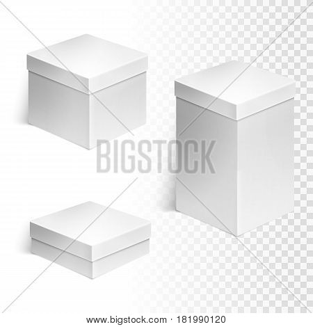 Set of three boxes over white background. Cardboard background for retail, white box container template, vector illustration.