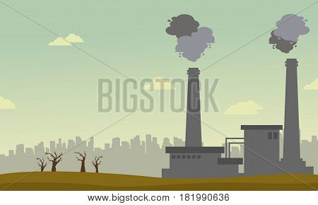 Collection of pollution industry background vector illustration