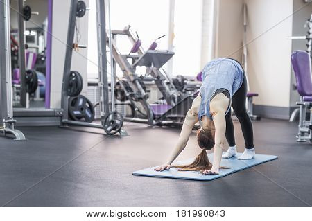 Young attractive woman practicing yoga, standing in Downward facing dog exercise.