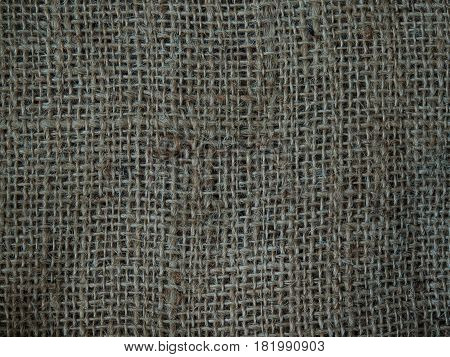 Close-up Crushed Sack Texture Background Brown Woven.