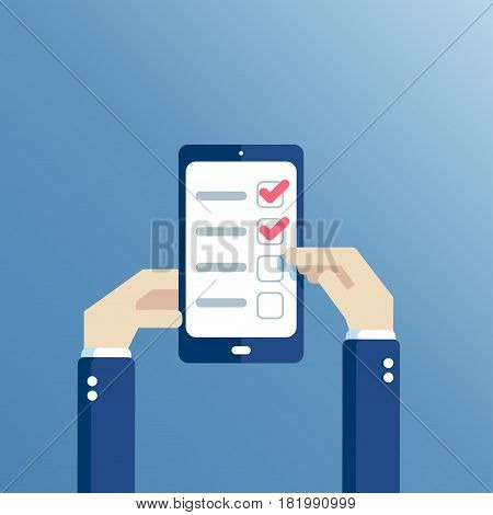 Man hands holding smartphone and using checklist application hands holding a mobile phone with a to-do list on the screen and a tick is made. Flat vector illustration