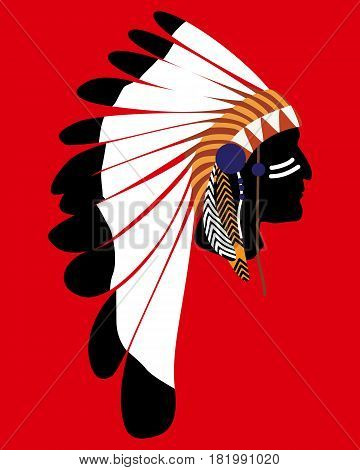 Silhouette Of An Injun Chief In A National Feather Headdress  Native American Tribal Chief's Headdre