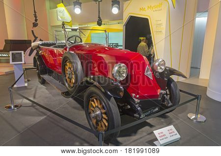 PARIS FRANCE - APRIL 1 2017: Renault Motor Show on the Champs Elysees. Renault 40CV manufactured at 1922.