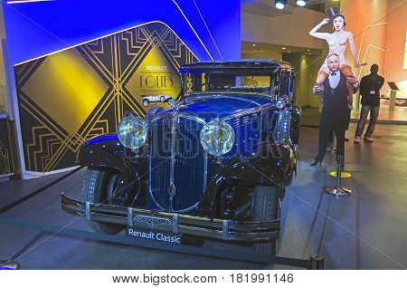 PARIS FRANCE - APRIL 1 2017: Renault Motor Show on the Champs Elysees. Renault Reinastella produced from 1929 to 1933.