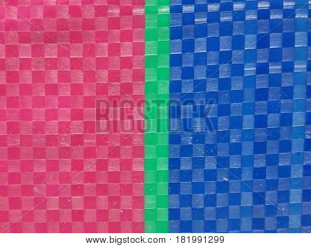Blur Sack color stripe background surface, summer color layer, color chessboard grid, pink green and navy blue, green color at middle