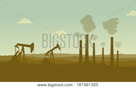 Construction industry silhouette landscape backgroud illustration vector