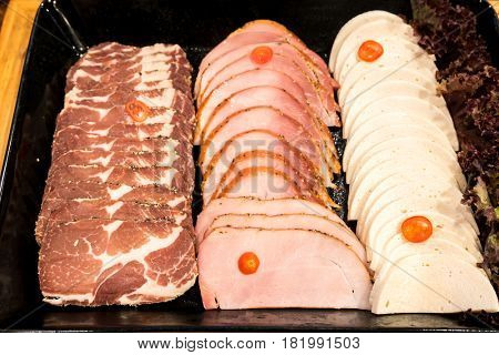 Variety of Ham pork and beef cold cut