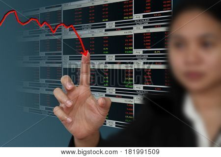 Business woman point to falling graph of stock market
