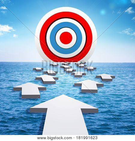 A big target on the horizon of sea. Arrows float on the surface of the sea in direction of target. The concept of success or achievement of goal. 3d illustration