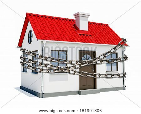 A small house with a red roof is wrapped in metal chain. The concept of security, legality, arrest. 3D rendering