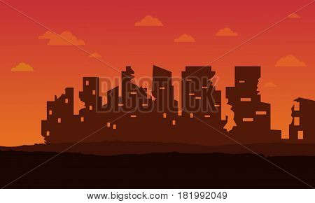 Broken city for bad environment landscape vector art