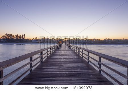 Fishing pier in Naples at sunrise. Florida United States