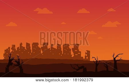 Silhouette of broken forest and city vector illustration