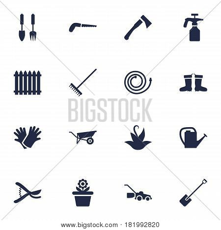 Set Of 16 Farm Icons Set.Collection Of Watering Can, Wheelbarrow, Rake And Other Elements.