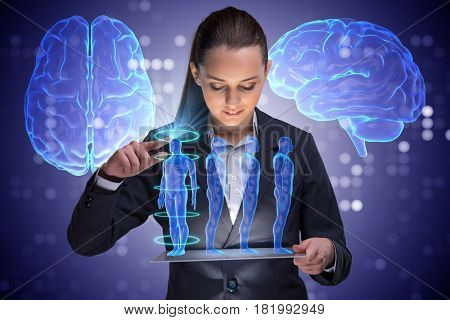 Futuristic remote diagnostics concept with businesswoman