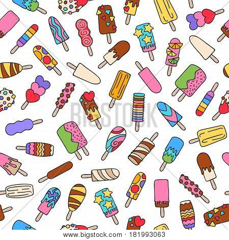 Popsicle ice cream icons pattern - hand drawn doodle style. Colorful sweets seamless vector background.