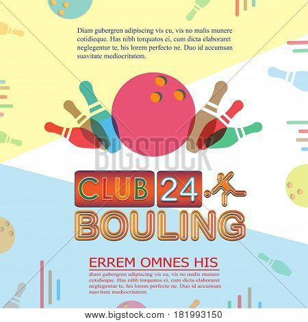 Bowling tournament poster or flyer. Abstract vector illustration of bowling game ball and pins.