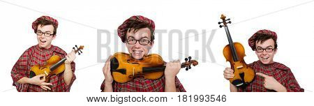 Funny scotsman with violin on white