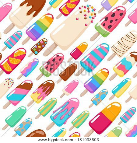 Popsicle ice cream pattern. Colorful sweets seamless vector background.