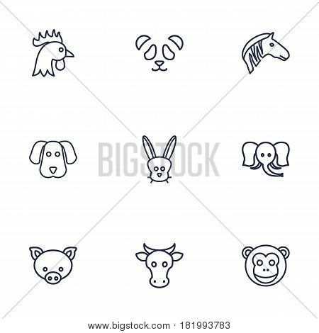 Set Of 9 Beast Outline Icons Set.Collection Of Cock, Pig, Feline Bear And Other Elements.