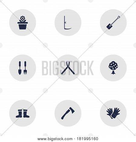Set Of 9 Farm Icons Set.Collection Of Cutter, Garden, Shovel And Other Elements.
