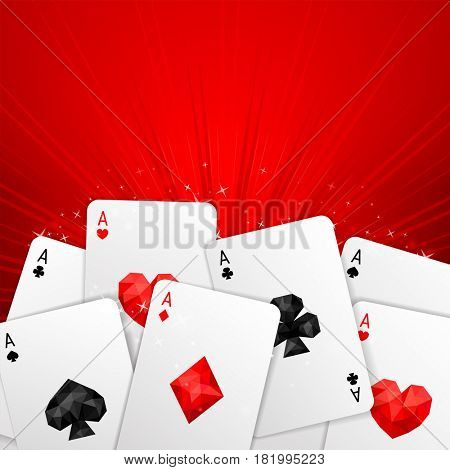 Background with four aces playing cards suits on red. Copy space. Winning poker hand