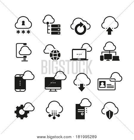 Internet cloud computing vector icon set. Download database from cloud, illustration of network cloud protection