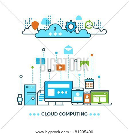 Digital cloud computing, computer data storage vector business concept. Cloud network sync, illustration of acces to cloud