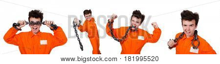 Young inmate with chains isolated on the white