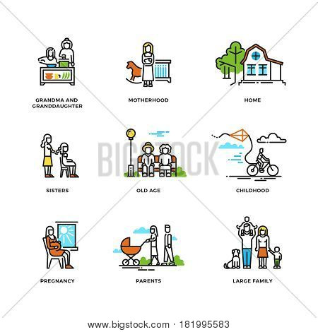 Family life, marriage and love, childhood and old age line vector icons. Relationship grandchild and grandma, character together family illustration