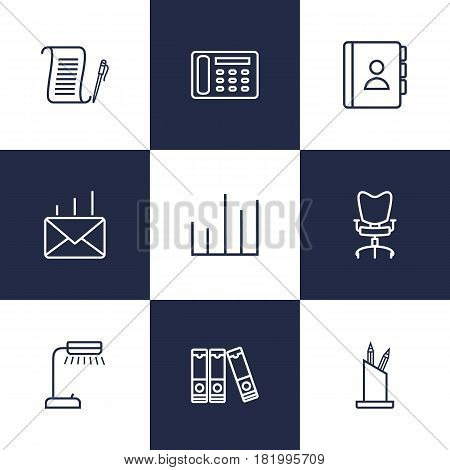 Set Of 9 Service Outline Icons Set.Collection Of Reading-Lamp, Telephone Directory, Workplace And Other Elements.