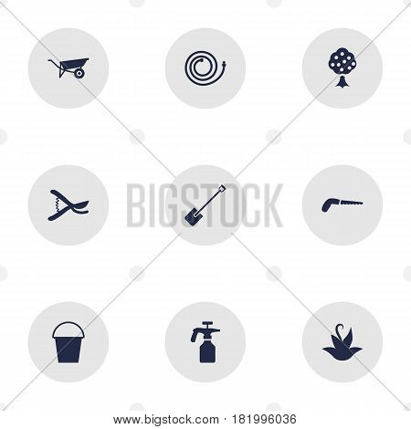 Set Of 9 Farm Icons Set.Collection Of Spray Bootle, Bucket, Garden Hose And Other Elements.