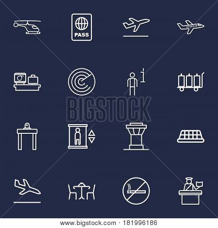 Set Of 16 Aircraft Outline Icons Set.Collection Of No Smoking, Passport Controller, Helicopter And Other Elements.