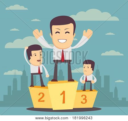 Winners on the podium. Stock vector illustration for poster, greeting card, website, ad, business presentation, advertisement design.