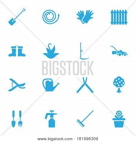 Set Of 16 Farm Icons Set.Collection Of Pruner, Rake, Spray Bootle And Other Elements.