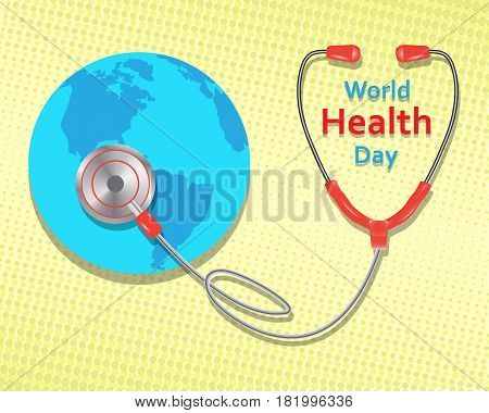 World health day concept on yellow background. Vector illustration.