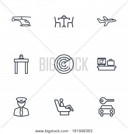Set Of 9 Land Outline Icons Set.Collection Of Pilot, Luggage Check, Plane And Other Elements.